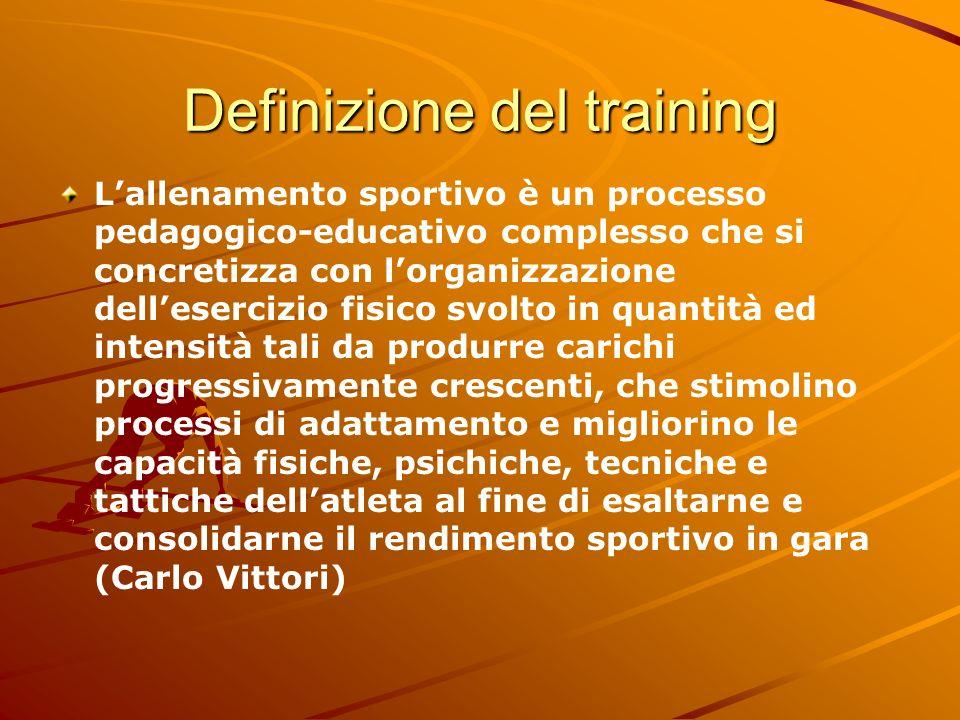 Definizione del training Lallenamento sportivo è un processo pedagogico-educativo complesso che si concretizza con lorganizzazione dellesercizio fisic