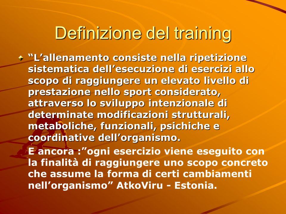 Definizione del training Lallenamento consiste nella ripetizione sistematica dellesecuzione di esercizi allo scopo di raggiungere un elevato livello d
