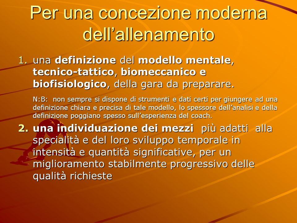 Per una concezione moderna dellallenamento 1.una definizione del modello mentale, tecnico-tattico, biomeccanico e biofisiologico, della gara da prepar