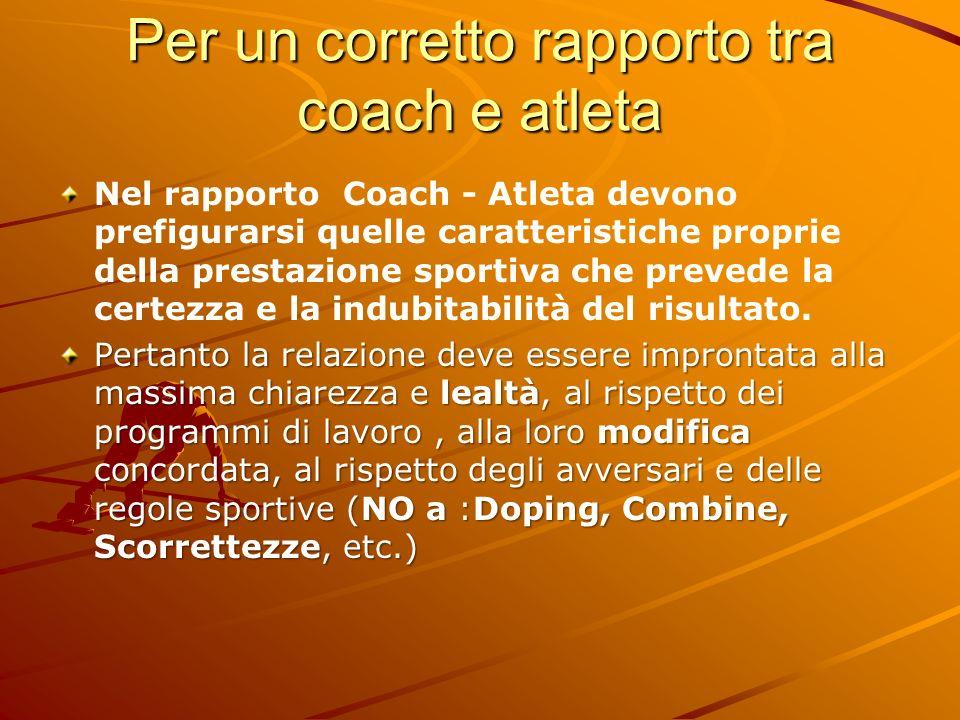 Per un corretto rapporto tra coach e atleta Nel rapporto Coach - Atleta devono prefigurarsi quelle caratteristiche proprie della prestazione sportiva