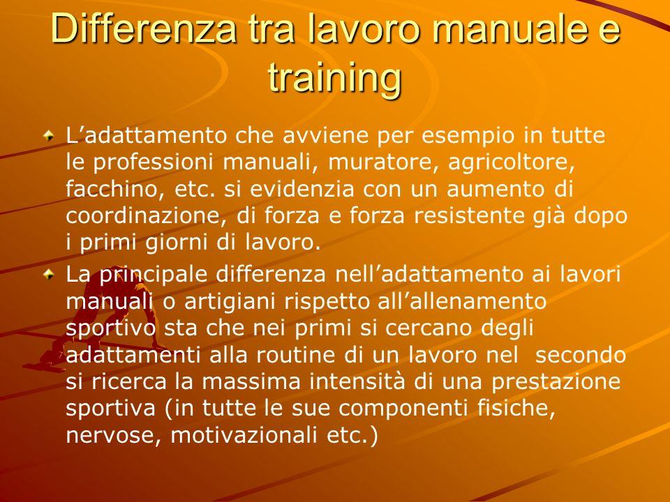 Differenza tra lavoro manuale e training Ladattamento che avviene per esempio in tutte le professioni manuali, muratore, agricoltore, facchino, etc. s