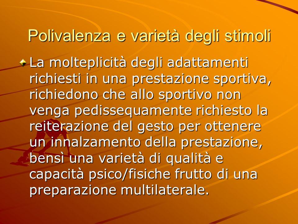 Polivalenza e varietà degli stimoli La molteplicità degli adattamenti richiesti in una prestazione sportiva, richiedono che allo sportivo non venga pe