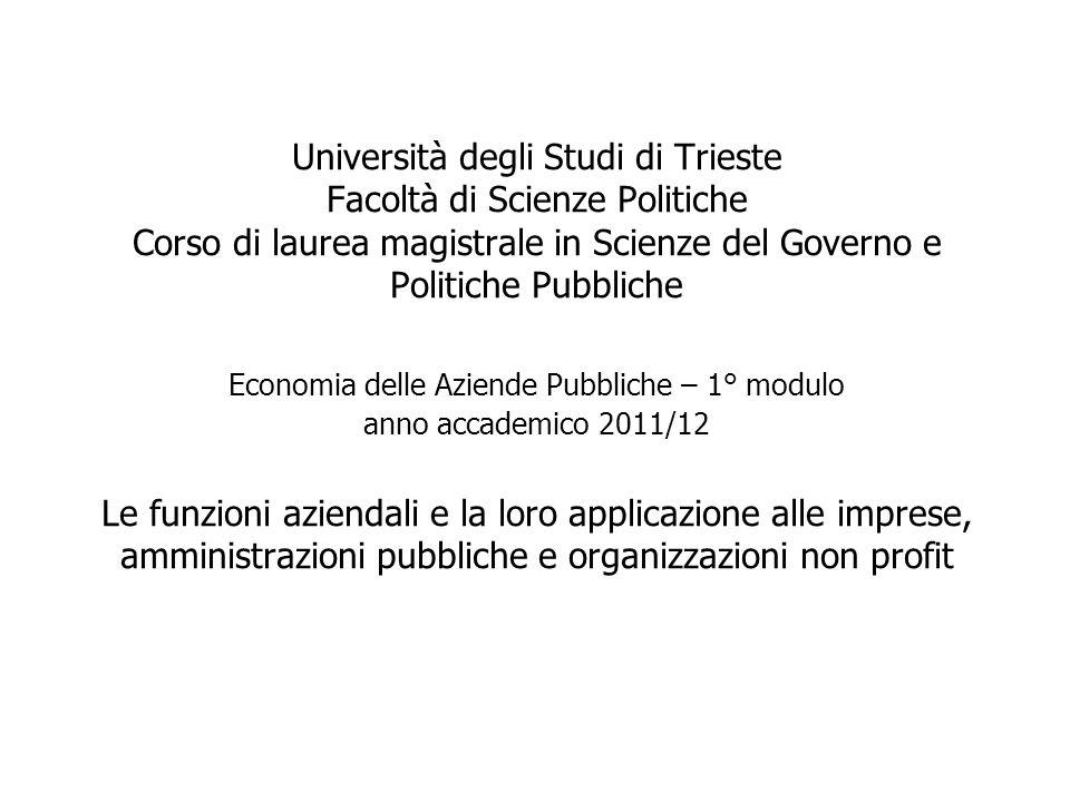 Università degli Studi di Trieste Facoltà di Scienze Politiche Corso di laurea magistrale in Scienze del Governo e Politiche Pubbliche Economia delle