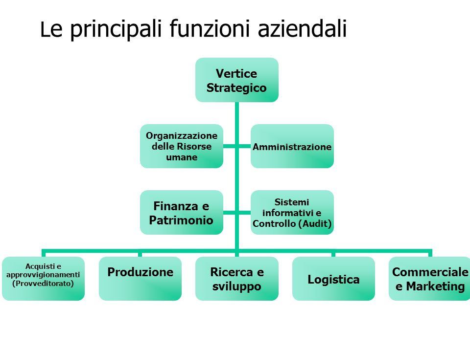 L e principali funzioni aziendali Vertice Strategico Acquisti e approvvigionamenti (Provveditorato) Produzione Ricerca e sviluppoLogistica Commerciale