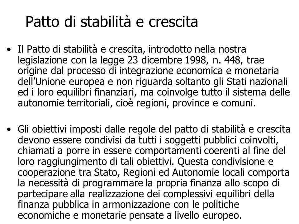 Patto di stabilità e crescita Il Patto di stabilità e crescita, introdotto nella nostra legislazione con la legge 23 dicembre 1998, n. 448, trae origi