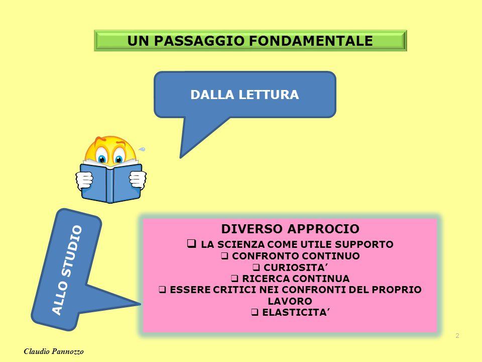 UN PASSAGGIO FONDAMENTALE DALLA LETTURA ALLO STUDIO DIVERSO APPROCIO LA SCIENZA COME UTILE SUPPORTO CONFRONTO CONTINUO CURIOSITA RICERCA CONTINUA ESSERE CRITICI NEI CONFRONTI DEL PROPRIO LAVORO ELASTICITA 2 Claudio Pannozzo