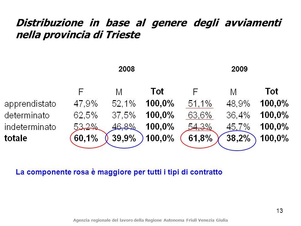 13 Distribuzione in base al genere degli avviamenti nella provincia di Trieste Agenzia regionale del lavoro della Regione Autonoma Friuli Venezia Giulia La componente rosa è maggiore per tutti i tipi di contratto 2008 2009