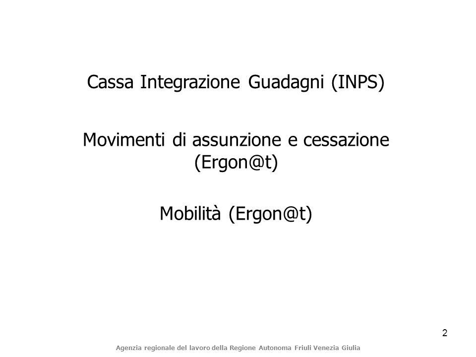 2 Agenzia regionale del lavoro della Regione Autonoma Friuli Venezia Giulia Cassa Integrazione Guadagni (INPS) Movimenti di assunzione e cessazione (Ergon@t) Mobilità (Ergon@t)