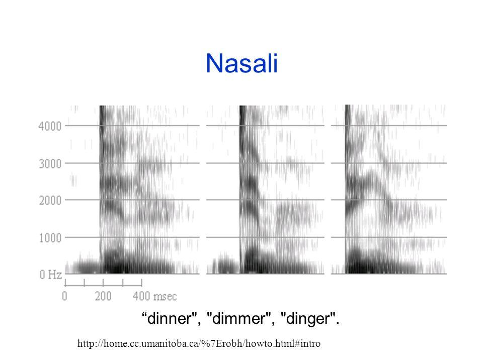 Approssimanti (2) Le approssimanti hanno bande formantiche piu deboli delle vocali, che a volte non sono individuabili. Le formanti alte sono particol