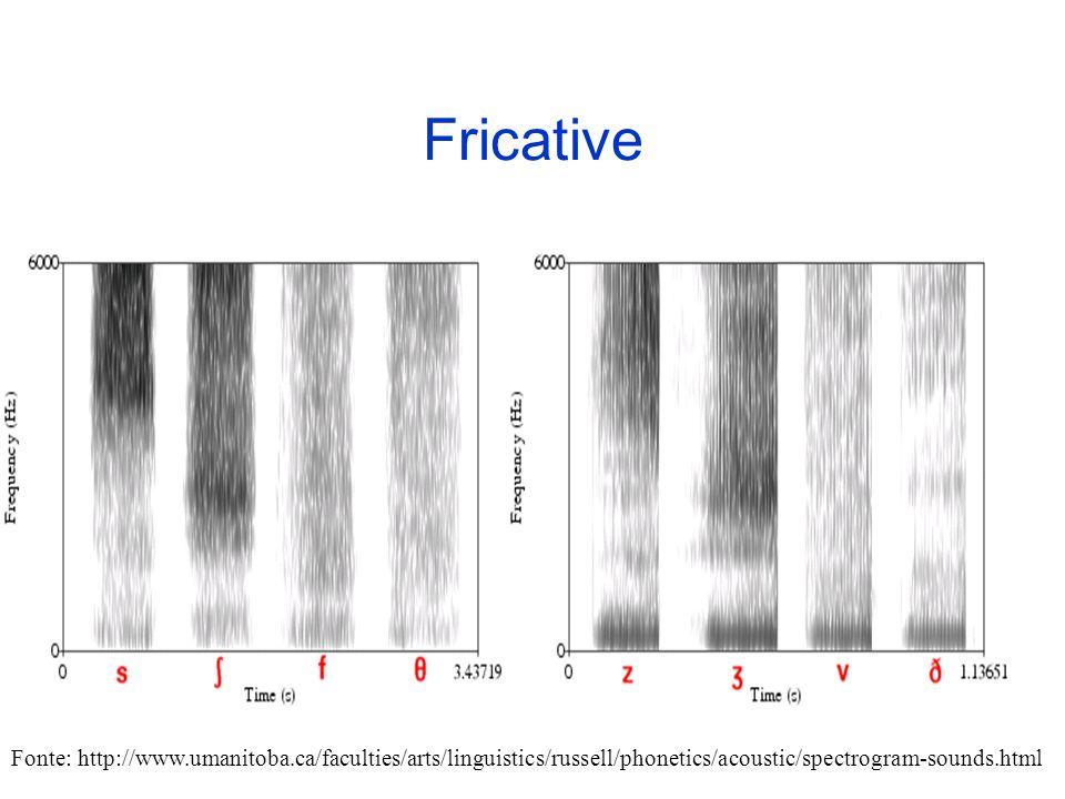 Nasali (2) Nelle consonanti nasali possono essere visualizzabili delle deboli strutture formantiche. Le formanti nasali hanno unampiezza minore delle