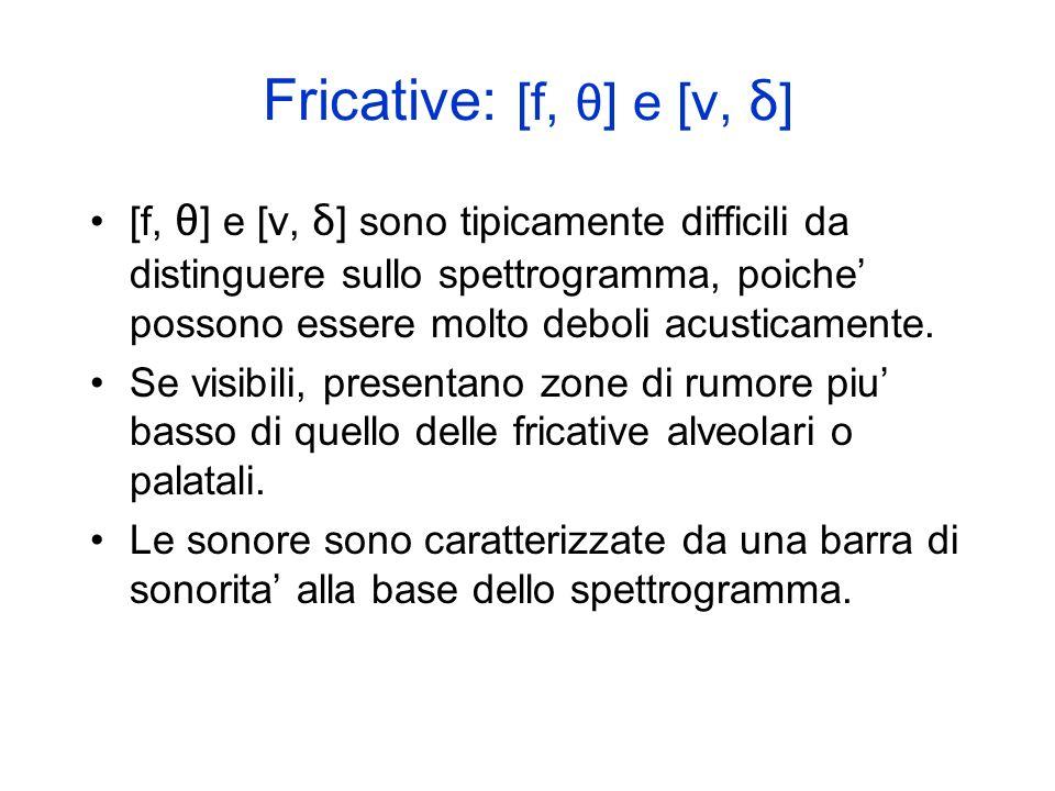 Fricative: [s, z] e [ ʃ, Ʒ ] [s, z] e [ ʃ, Ʒ ] presentano zone di rumore piu intenso (visualizzato come piu scuro) nella parte alta dello spettrogramm