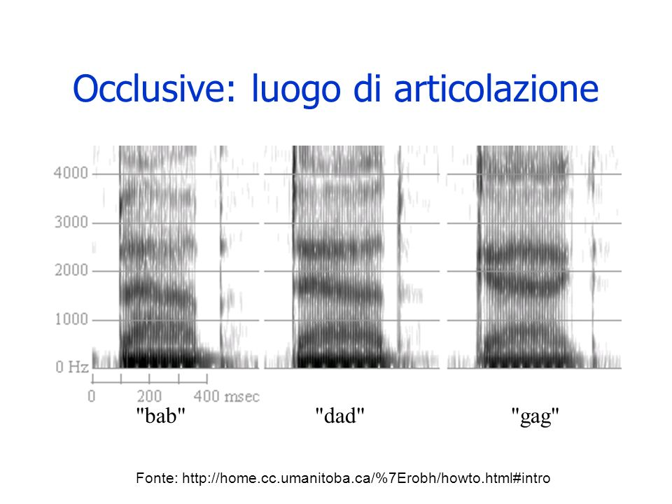 I dittonghi vuoi Nei dittonghi e chiaramente visibile il movimento delle formanti per le diverse vocali