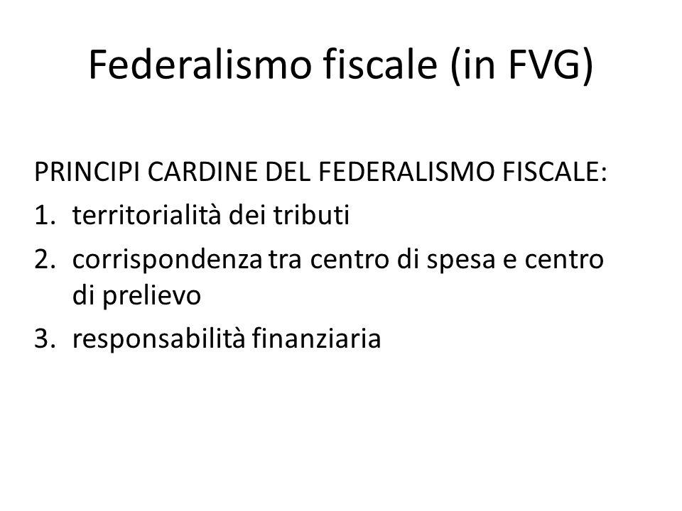 Federalismo fiscale (in FVG) PRINCIPI CARDINE DEL FEDERALISMO FISCALE: 1.territorialità dei tributi 2.corrispondenza tra centro di spesa e centro di p