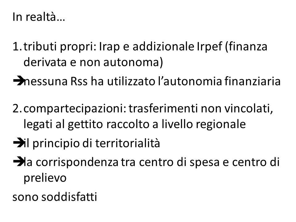 In realtà… 1.tributi propri: Irap e addizionale Irpef (finanza derivata e non autonoma) nessuna Rss ha utilizzato lautonomia finanziaria 2.compartecip
