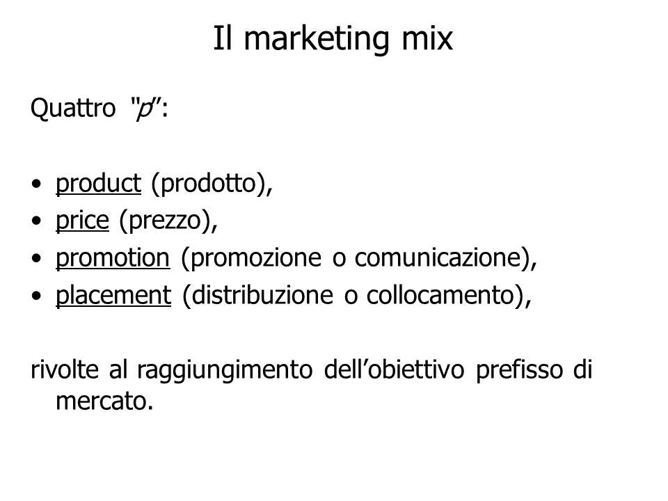 Il marketing mix Quattro p: product (prodotto), price (prezzo), promotion (promozione o comunicazione), placement (distribuzione o collocamento), rivo