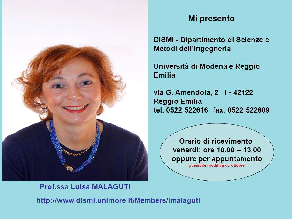 Prof.ssa Luisa MALAGUTI http://www.dismi.unimore.it/Members/lmalaguti Orario di ricevimento venerdì: ore 10.00 – 13.00 oppure per appuntamento possibi