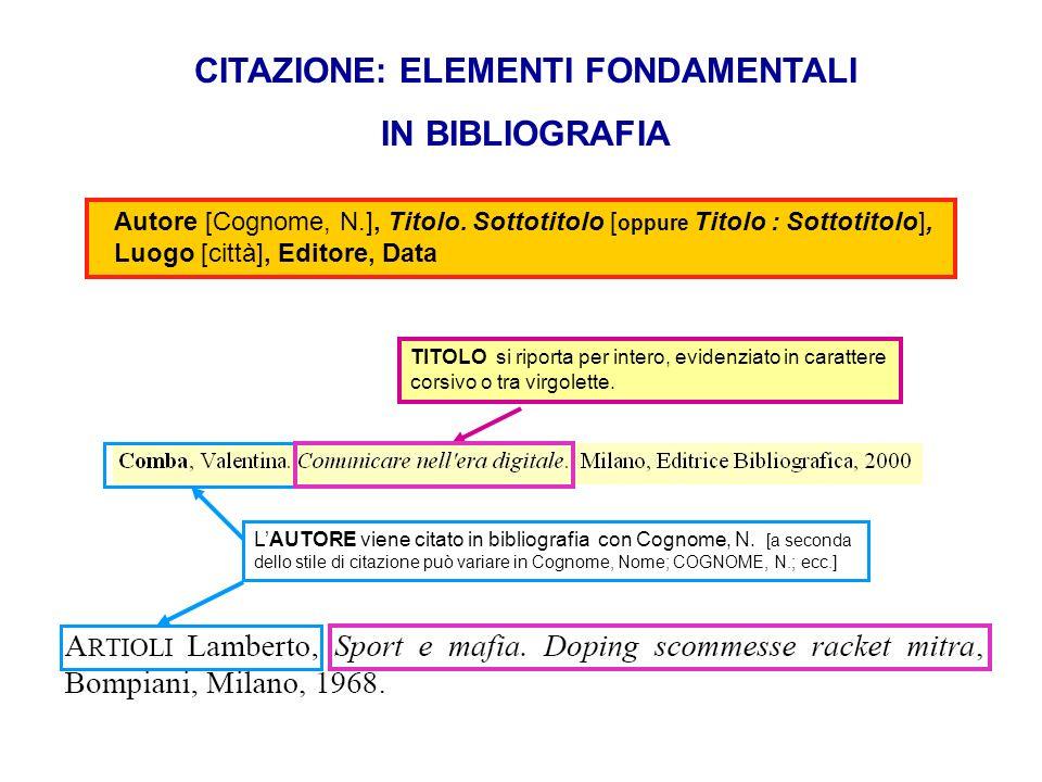 CITAZIONE: ELEMENTI FONDAMENTALI IN BIBLIOGRAFIA TITOLO si riporta per intero, evidenziato in carattere corsivo o tra virgolette. LAUTORE viene citato