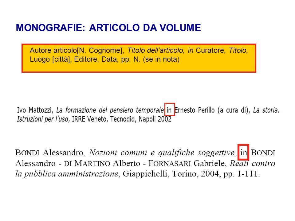 MONOGRAFIE: ARTICOLO DA VOLUME Autore articolo[N. Cognome], Titolo dellarticolo, in Curatore, Titolo, Luogo [città], Editore, Data, pp. N. (se in nota