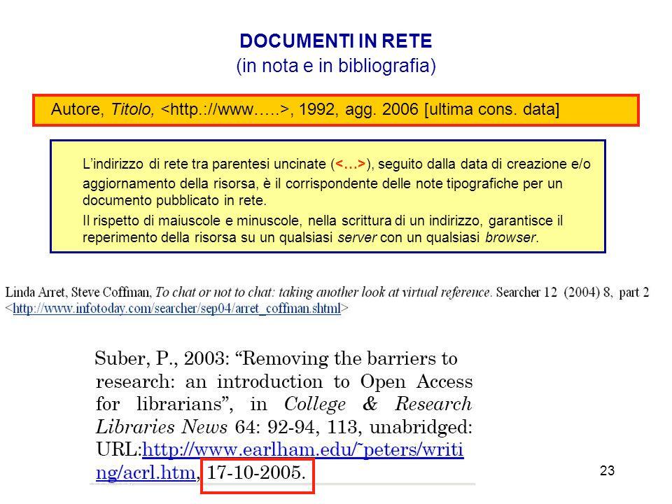 Lindirizzo di rete tra parentesi uncinate ( ), seguito dalla data di creazione e/o aggiornamento della risorsa, è il corrispondente delle note tipogra
