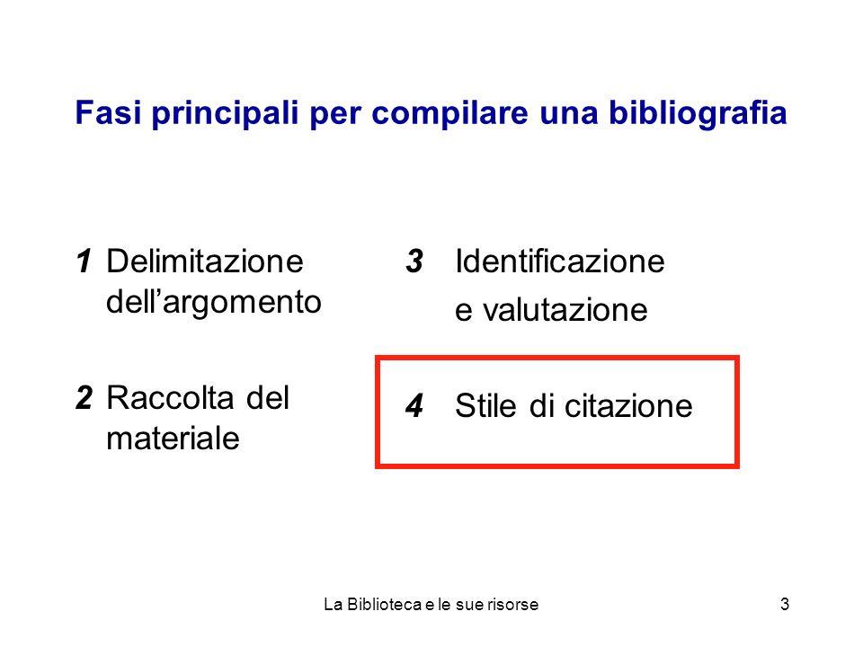 Fasi principali per compilare una bibliografia 1Delimitazione dellargomento 2Raccolta del materiale 3Identificazione e valutazione 4Stile di citazione