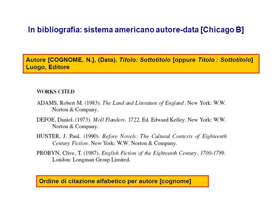 In bibliografia: sistema americano autore-data [Chicago B] Autore [COGNOME, N.], (Data). Titolo: Sottotitolo [oppure Titolo : Sottotitolo] Luogo, Edit