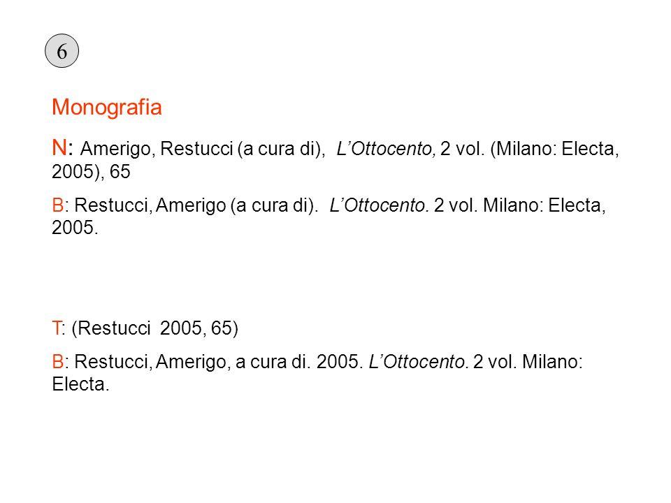 Monografia N: Amerigo, Restucci (a cura di), LOttocento, 2 vol. (Milano: Electa, 2005), 65 B: Restucci, Amerigo (a cura di). LOttocento. 2 vol. Milano