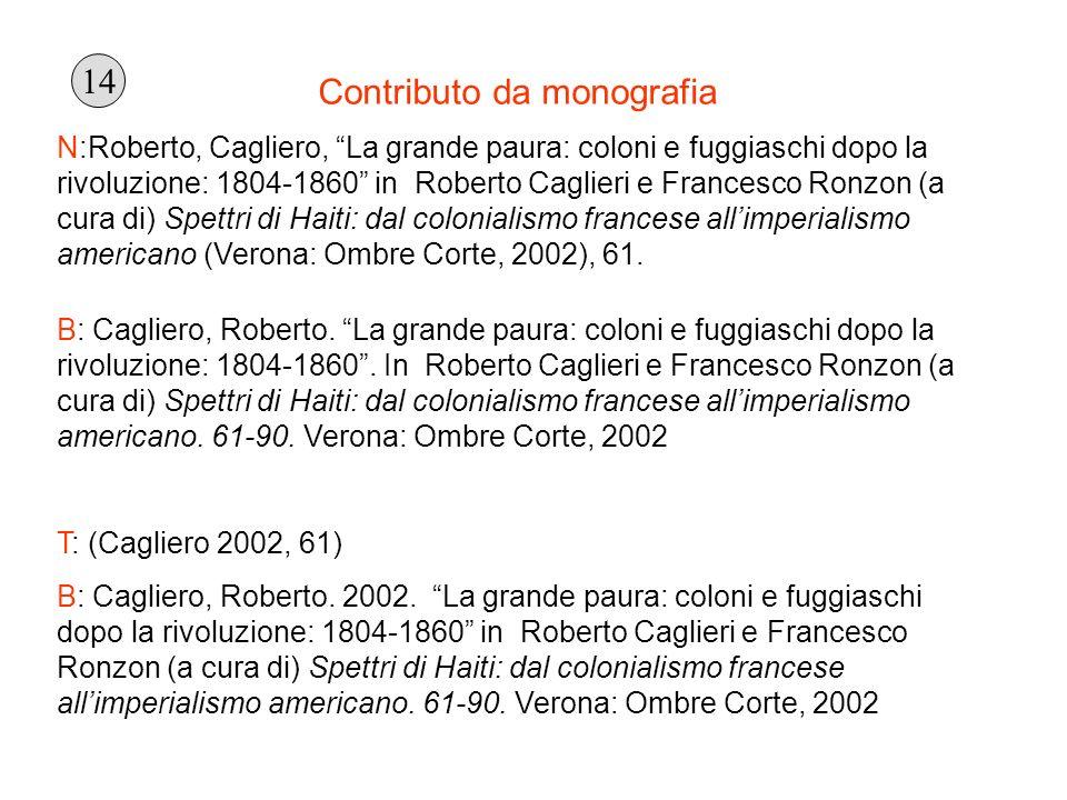 Contributo da monografia N:Roberto, Cagliero, La grande paura: coloni e fuggiaschi dopo la rivoluzione: 1804-1860 in Roberto Caglieri e Francesco Ronz