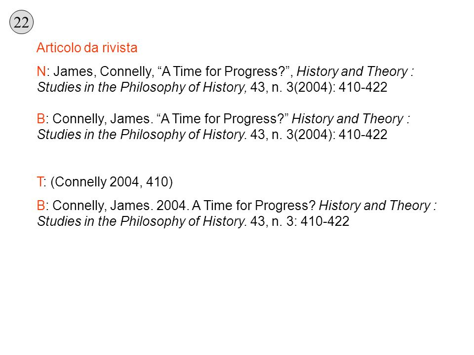 Articolo da rivista N: James, Connelly, A Time for Progress?, History and Theory : Studies in the Philosophy of History, 43, n. 3(2004): 410-422 B: Co