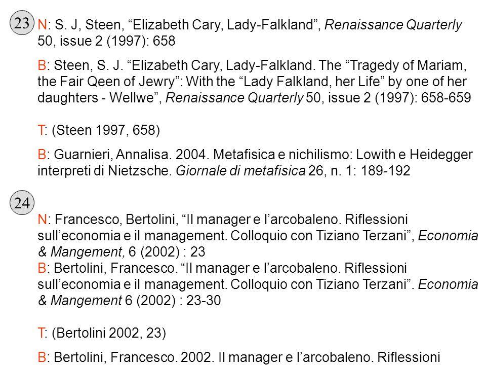 N: S. J, Steen, Elizabeth Cary, Lady-Falkland, Renaissance Quarterly 50, issue 2 (1997): 658 B: Steen, S. J. Elizabeth Cary, Lady-Falkland. The Traged