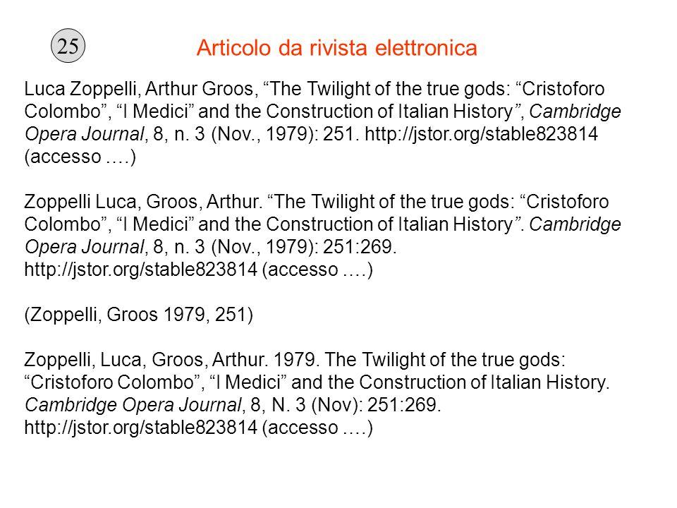 Articolo da rivista elettronica Luca Zoppelli, Arthur Groos, The Twilight of the true gods: Cristoforo Colombo, I Medici and the Construction of Itali
