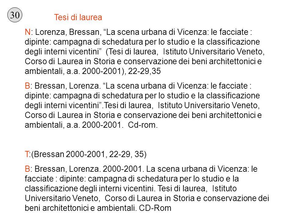 Tesi di laurea N: Lorenza, Bressan, La scena urbana di Vicenza: le facciate : dipinte: campagna di schedatura per lo studio e la classificazione degli