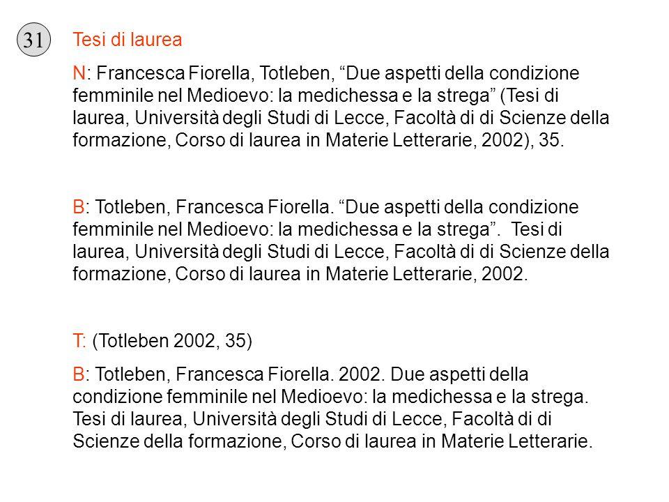 Tesi di laurea N: Francesca Fiorella, Totleben, Due aspetti della condizione femminile nel Medioevo: la medichessa e la strega (Tesi di laurea, Univer
