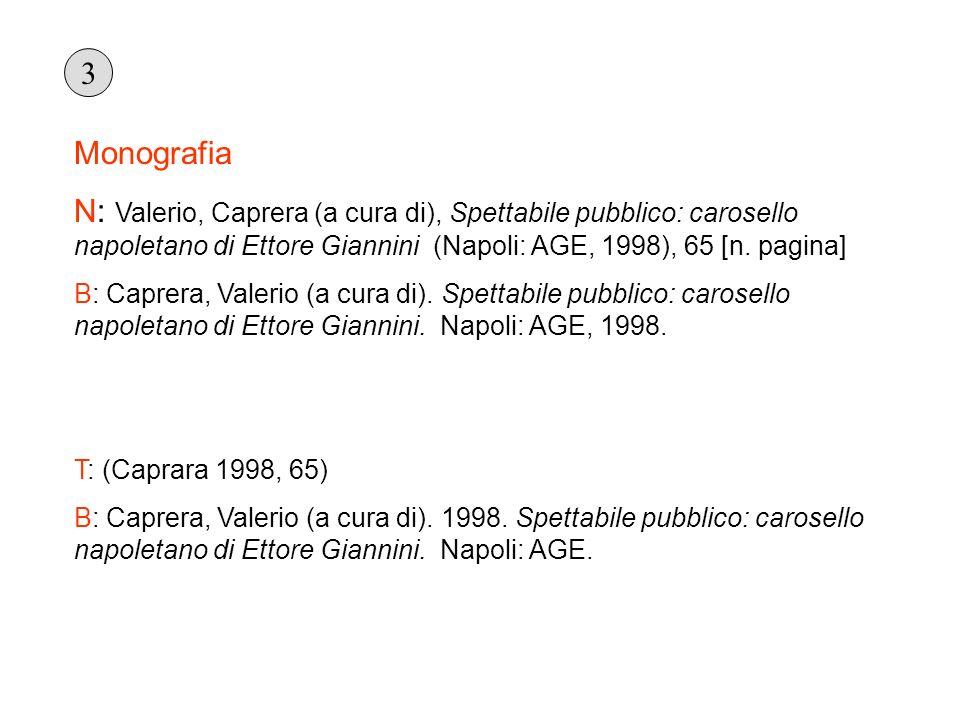 Monografia N: Valerio, Caprera (a cura di), Spettabile pubblico: carosello napoletano di Ettore Giannini (Napoli: AGE, 1998), 65 [n. pagina] B: Caprer