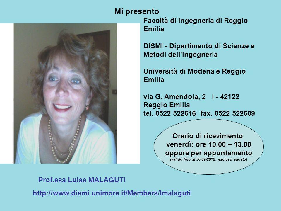 Prof.ssa Luisa MALAGUTI http://www.dismi.unimore.it/Members/lmalaguti Orario di ricevimento venerdì: ore 10.00 – 13.00 oppure per appuntamento (valido