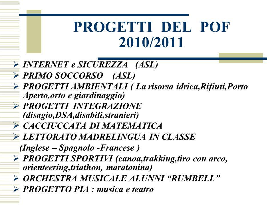 PROGETTI DEL POF 2010/2011 INTERNET e SICUREZZA (ASL) PRIMO SOCCORSO (ASL) PROGETTI AMBIENTALI ( La risorsa idrica,Rifiuti,Porto Aperto,orto e giardin