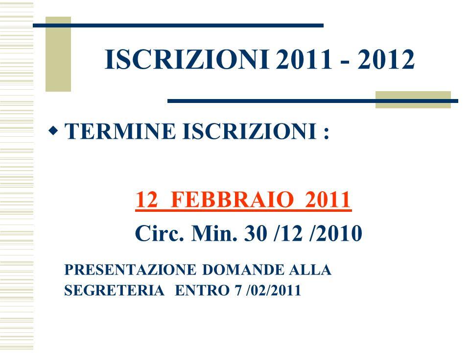 ISCRIZIONI 2011 - 2012 TERMINE ISCRIZIONI : 12 FEBBRAIO 2011 Circ. Min. 30 /12 /2010 PRESENTAZIONE DOMANDE ALLA SEGRETERIA ENTRO 7 /02/2011
