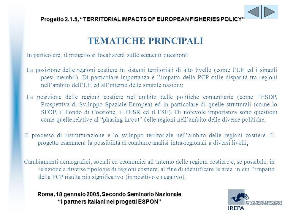 Roma, 18 gennaio 2005, Secondo Seminario Nazionale I partners italiani nei progetti ESPON Progetto 2.1.5, TERRITORIAL IMPACTS OF EUROPEAN FISHERIES PO
