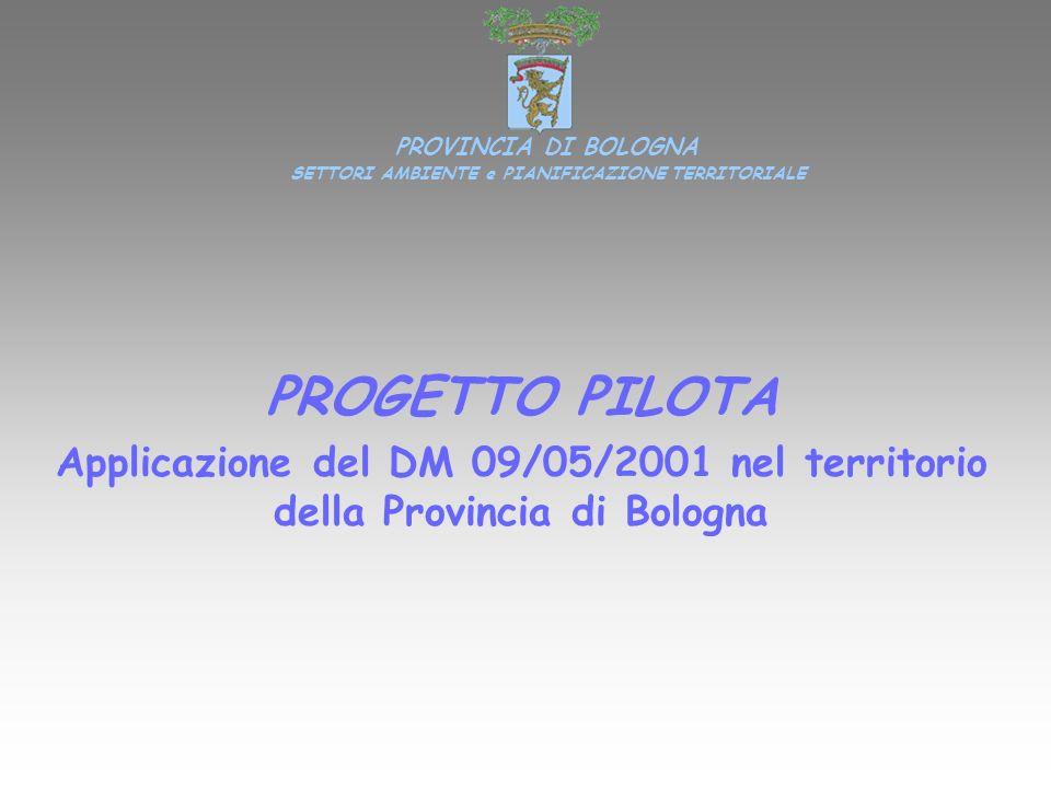 PROGETTO PILOTA Applicazione del DM 09/05/2001 nel territorio della Provincia di Bologna PROVINCIA DI BOLOGNA SETTORI AMBIENTE e PIANIFICAZIONE TERRIT