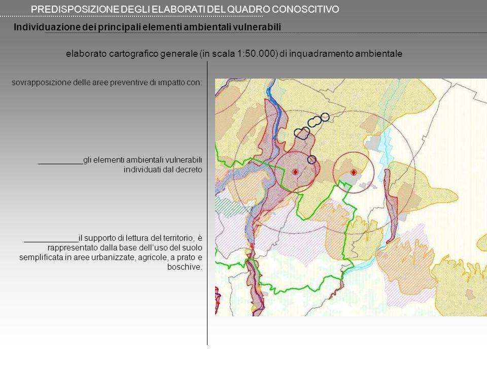PREDISPOSIZIONE DEGLI ELABORATI DEL QUADRO CONOSCITIVO Individuazione dei principali elementi ambientali vulnerabili sovrapposizione delle aree preventive di impatto con: __________gli elementi ambientali vulnerabili individuati dal decreto ____________il supporto di lettura del territorio, è rappresentato dalla base delluso del suolo semplificata in aree urbanizzate, agricole, a prato e boschive.
