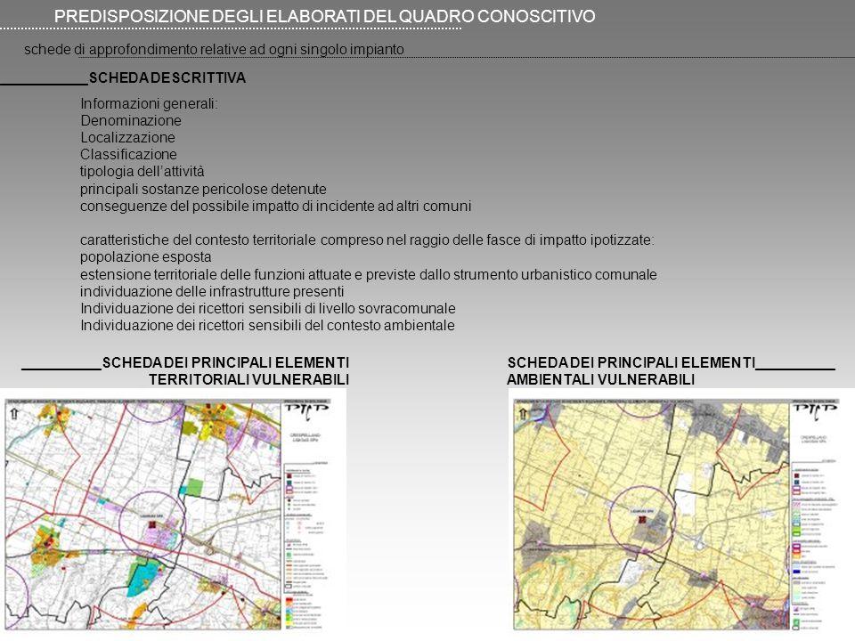 schede di approfondimento relative ad ogni singolo impianto PREDISPOSIZIONE DEGLI ELABORATI DEL QUADRO CONOSCITIVO Informazioni generali: Denominazion