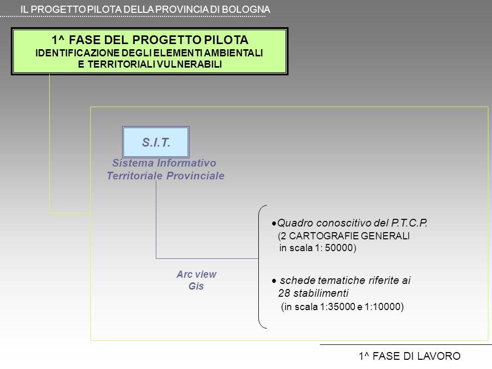 1^ FASE DEL PROGETTO PILOTA IDENTIFICAZIONE DEGLI ELEMENTI AMBIENTALI E TERRITORIALI VULNERABILI IL PROGETTO PILOTA DELLA PROVINCIA DI BOLOGNA 1^ FASE DI LAVORO schede tematiche riferite ai 28 stabilimenti ( in scala 1:35000 e 1:10000 ) Quadro conoscitivo del P.T.C.P.