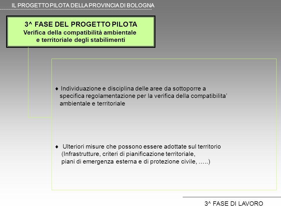 3^ FASE DEL PROGETTO PILOTA Verifica della compatibilità ambientale e territoriale degli stabilimenti IL PROGETTO PILOTA DELLA PROVINCIA DI BOLOGNA 3^