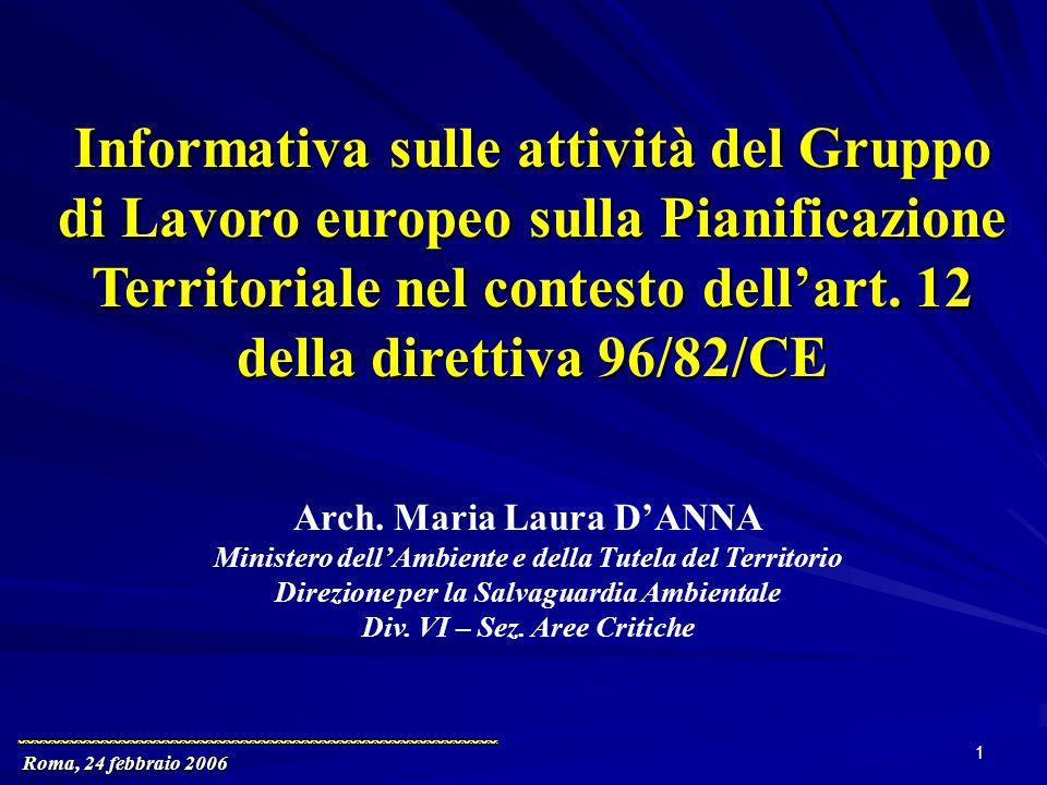 Roma, 24 febbraio 2006 1 Informativa sulle attività del Gruppo di Lavoro europeo sulla Pianificazione Territoriale nel contesto dellart.