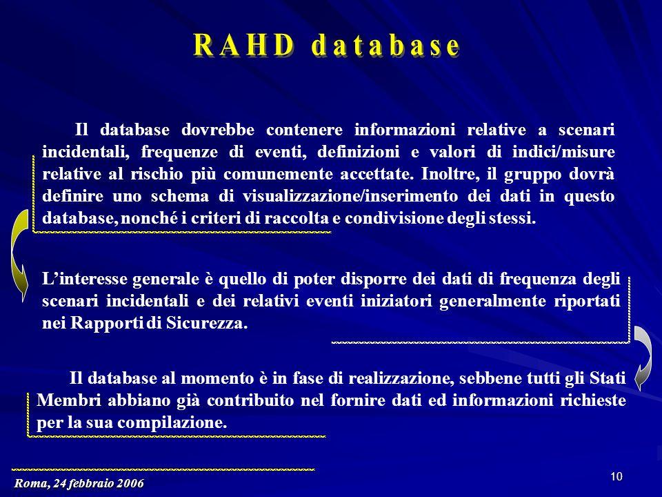 Roma, 24 febbraio 2006 10 Il database dovrebbe contenere informazioni relative a scenari incidentali, frequenze di eventi, definizioni e valori di indici/misure relative al rischio più comunemente accettate.