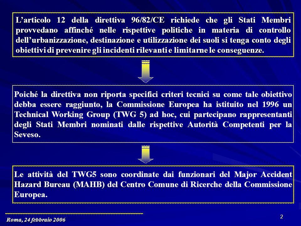 Roma, 24 febbraio 2006 2 Larticolo 12 della direttiva 96/82/CE richiede che gli Stati Membri provvedano affinché nelle rispettive politiche in materia di controllo dellurbanizzazione, destinazione e utilizzazione dei suoli si tenga conto degli obiettivi di prevenire gli incidenti rilevanti e limitarne le conseguenze.