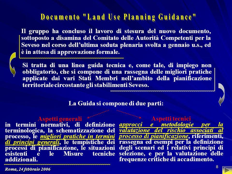 Roma, 24 febbraio 2006 8 Il gruppo ha concluso il lavoro di stesura del nuovo documento, sottoposto a disamina del Comitato delle Autorità Competenti per la Seveso nel corso dellultima seduta plenaria svolta a gennaio u.s., ed è in attesa di approvazione formale.