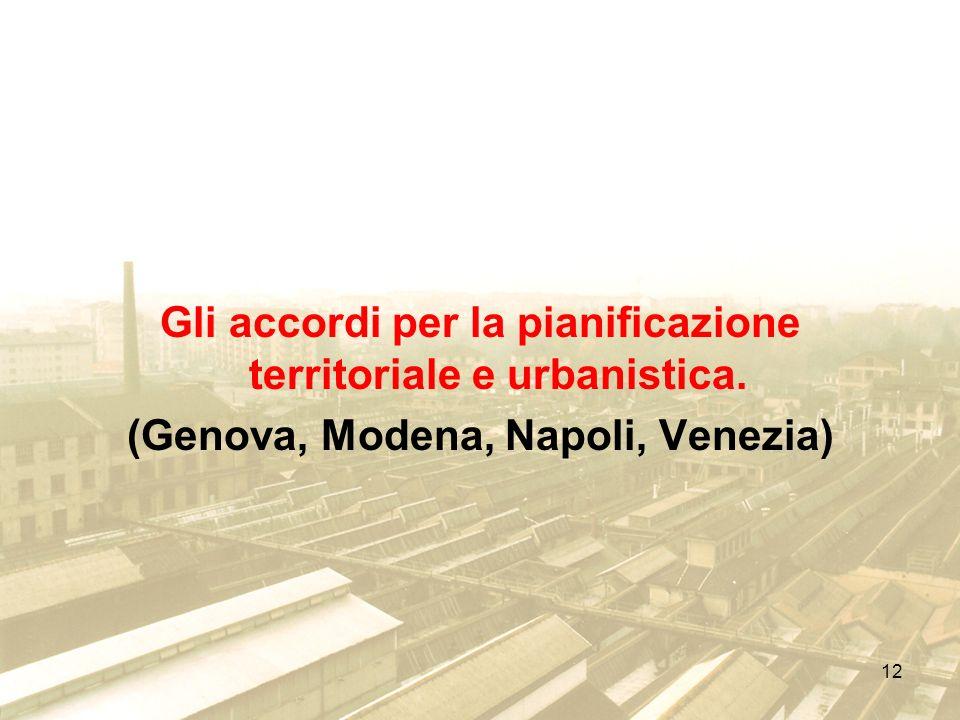 12 Gli accordi per la pianificazione territoriale e urbanistica. (Genova, Modena, Napoli, Venezia)