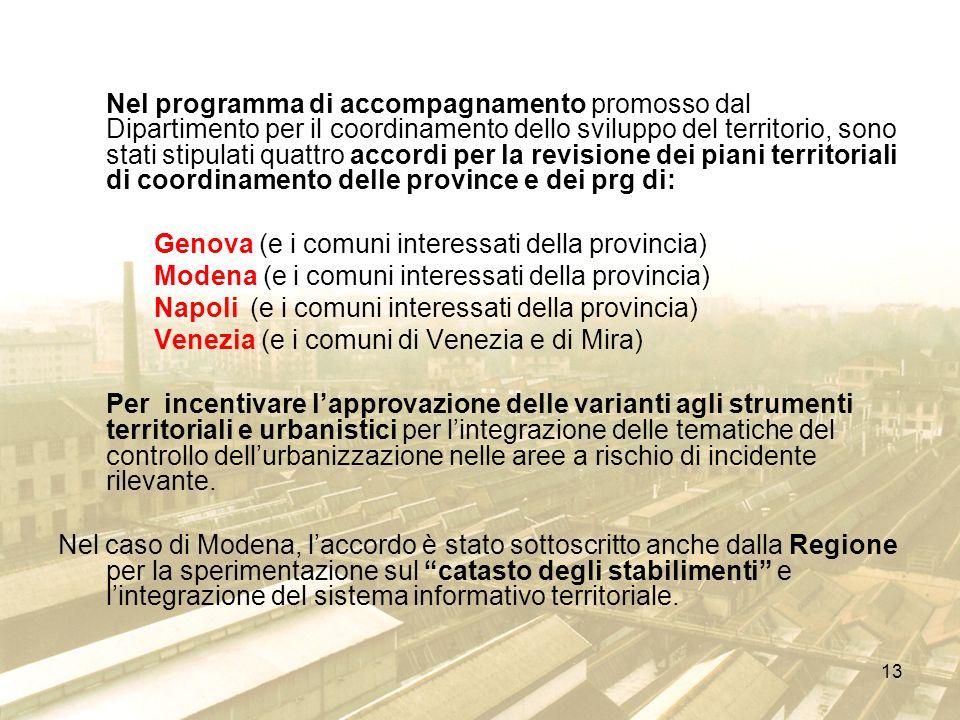 13 Nel programma di accompagnamento promosso dal Dipartimento per il coordinamento dello sviluppo del territorio, sono stati stipulati quattro accordi