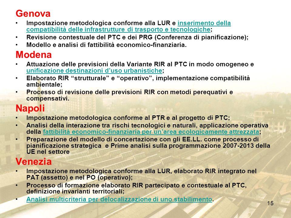 15 Genova Impostazione metodologica conforme alla LUR e inserimento della compatibilità delle infrastrutture di trasporto e tecnologiche;inserimento d