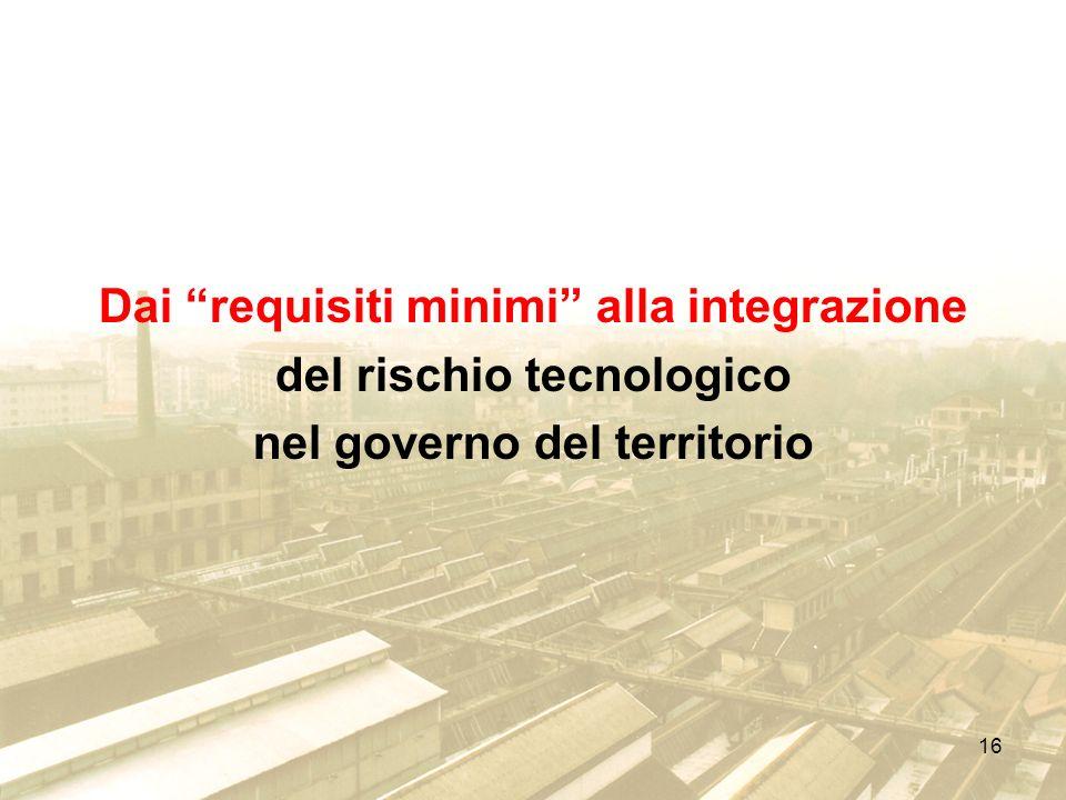 16 Dai requisiti minimi alla integrazione del rischio tecnologico nel governo del territorio